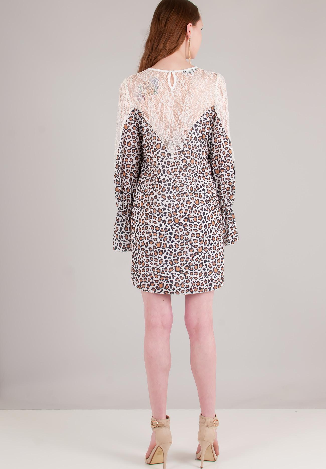 Animal print φόρεμα με λεπτομέρειες δαντέλα - ZIC ZAC 58a088dd128