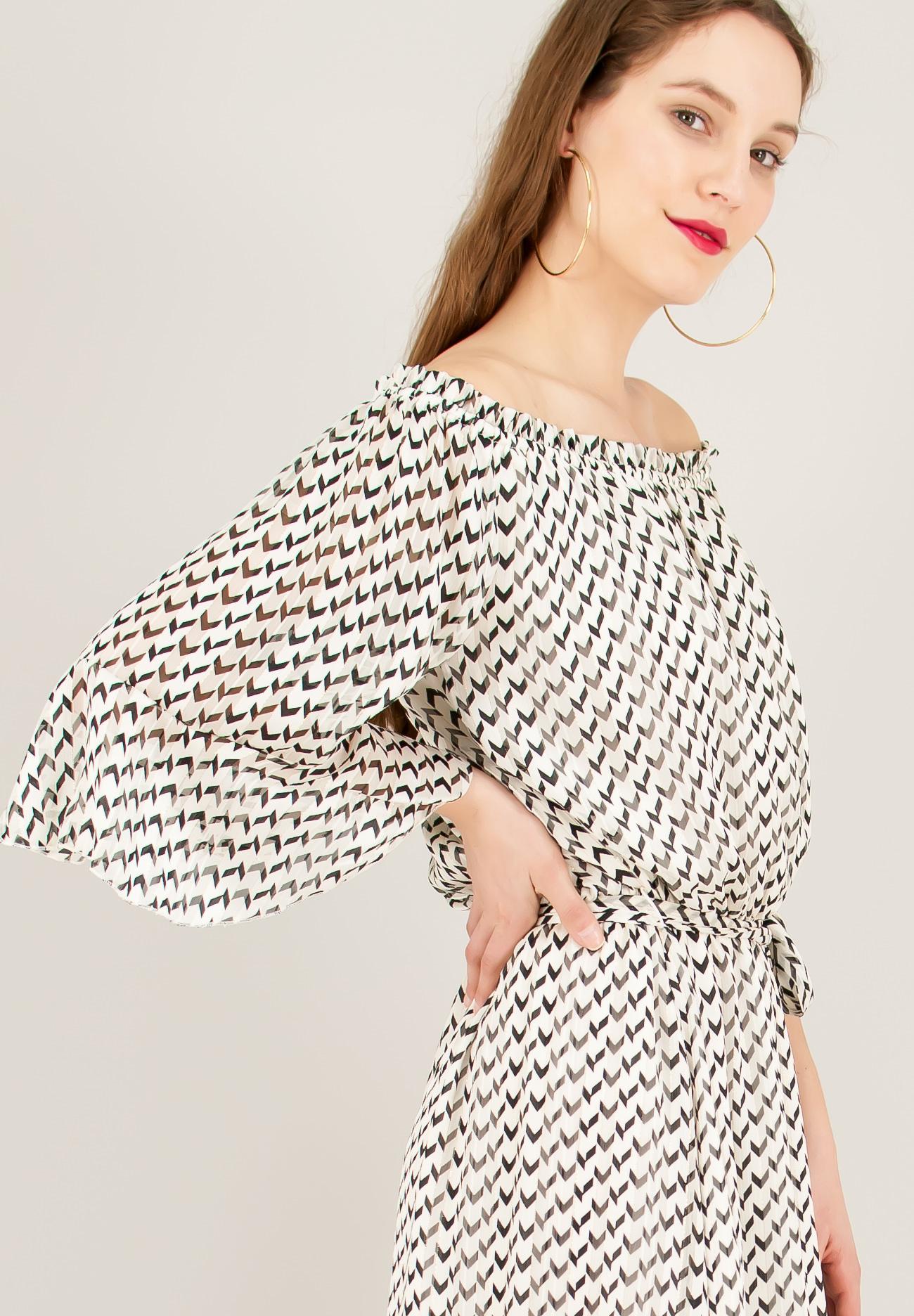 81facc8c9579 Εμπριμέ φόρεμα με λάστιχο στη λαιμόκοψη - ZIC ZAC