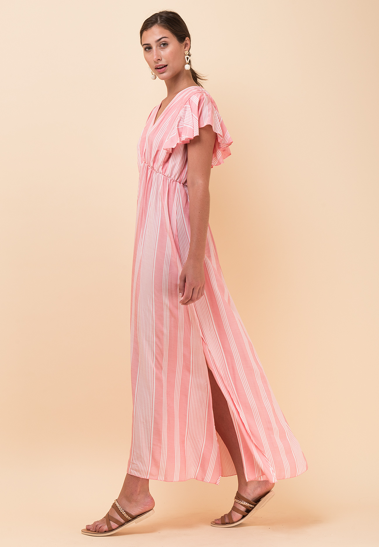 107a4e086d3 Maxi ριγέ φόρεμα σε άνετη γραμμή με V ντεκολτέ - ZIC ZAC