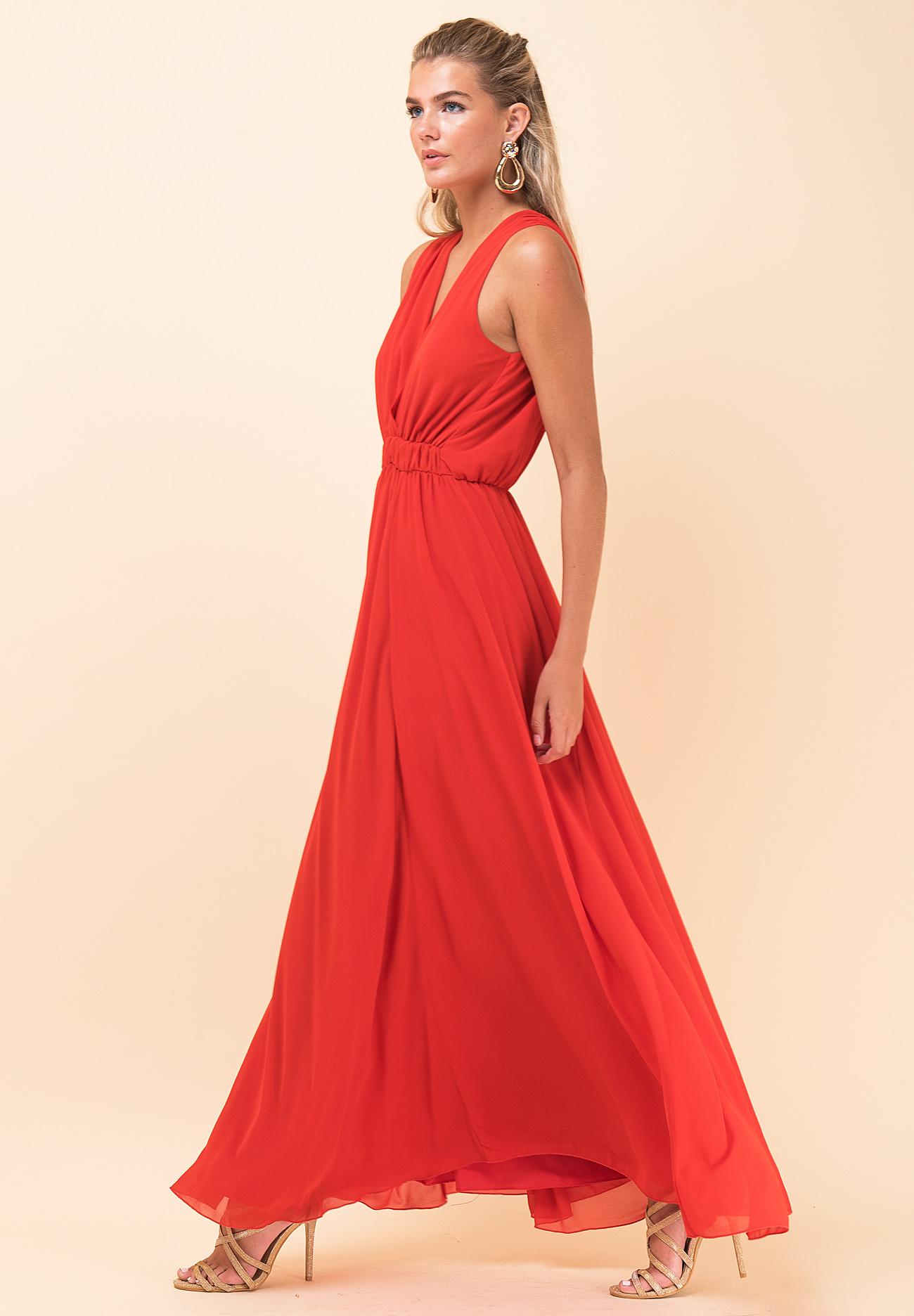 35578c83b0e3 Μακρύ μονόχρωμο φόρεμα με λάστιχο στη μέση