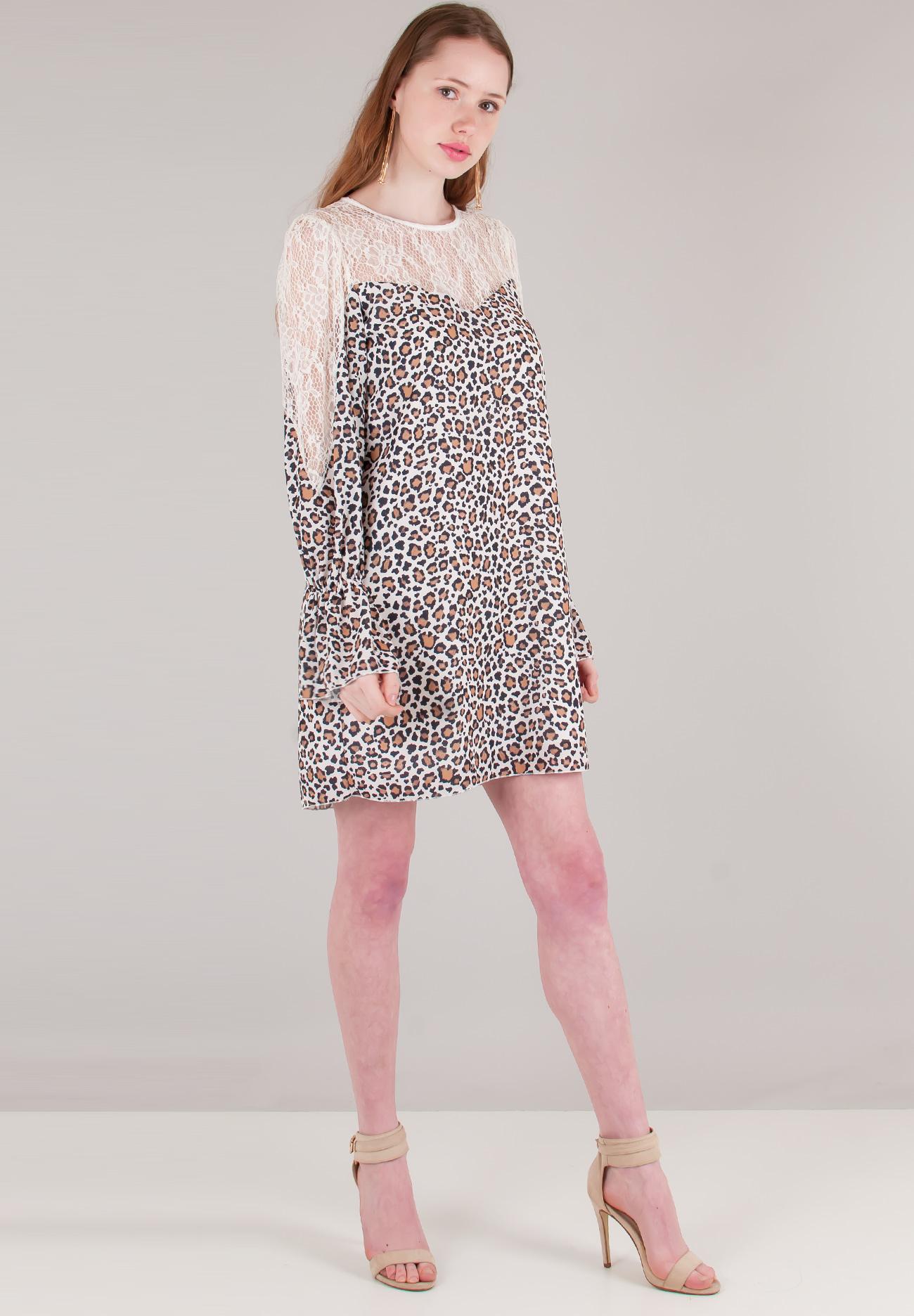 0c2557e6889b Animal print φόρεμα με λεπτομέρειες δαντέλα - ZIC ZAC