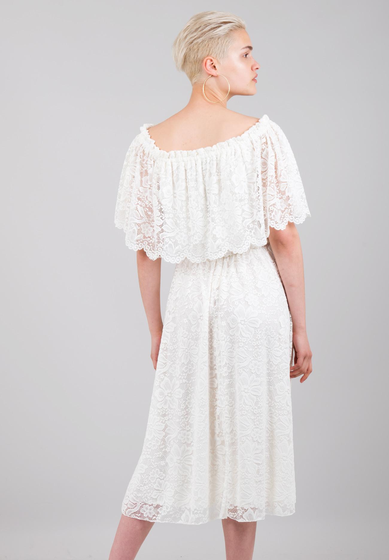 e01c189dae96 Δαντελένιο φόρεμα με έξω τους ώμους - ZIC ZAC