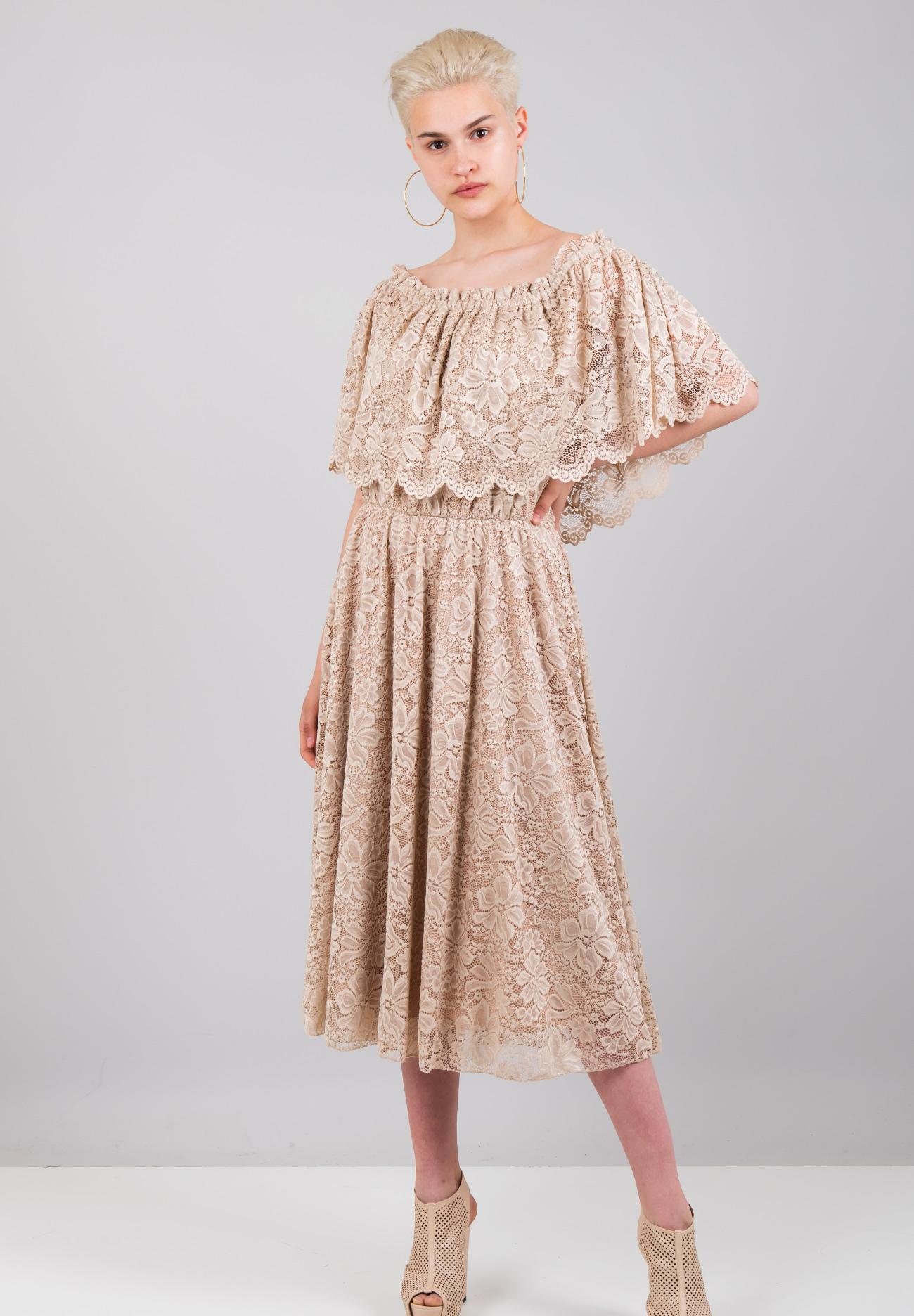 f28c11f5f99d Μίντι δαντελένιο φόρεμα - ZIC ZAC