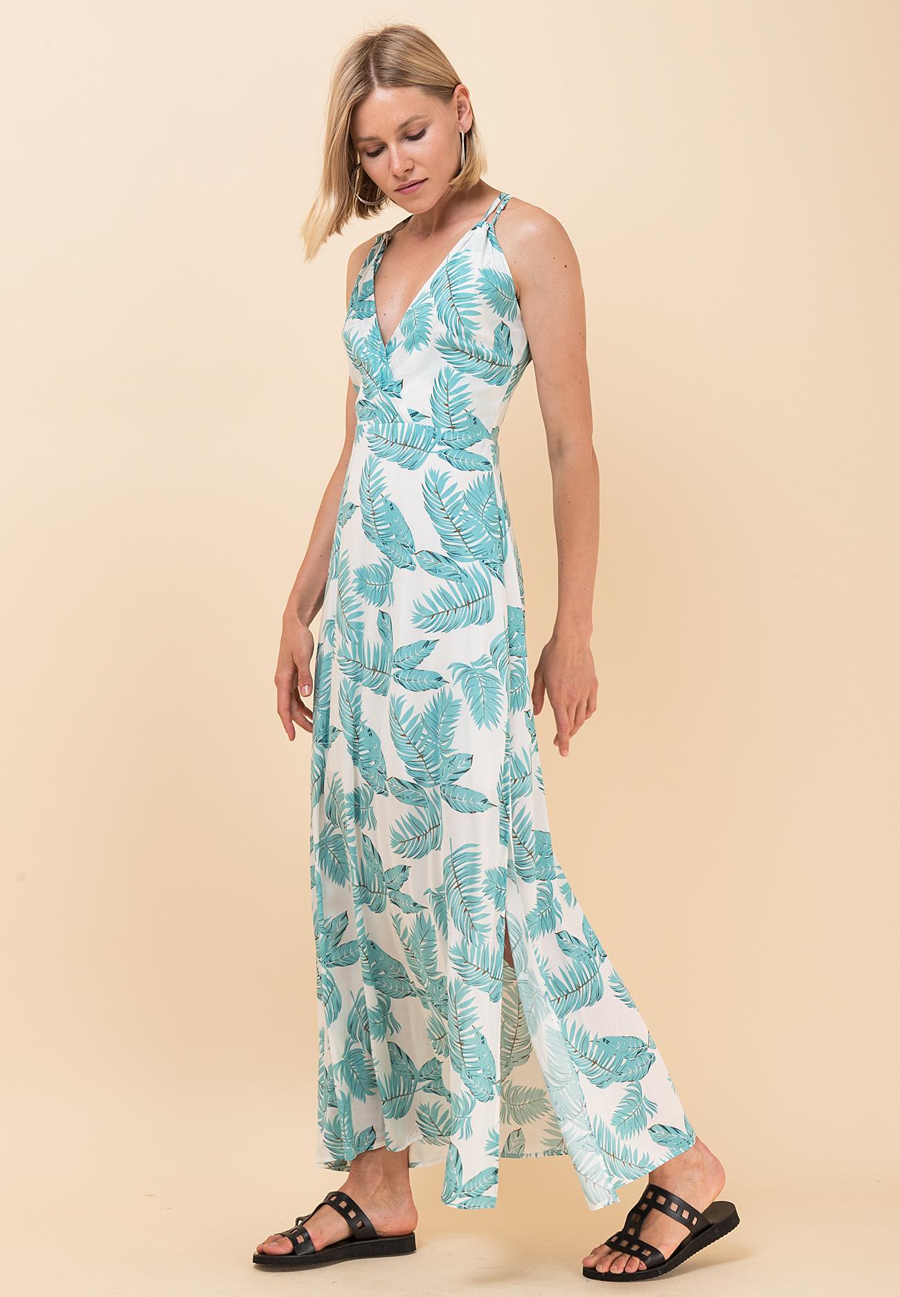 0d80d2b9d1d Εμπριμέ φόρεμα με δετές τιράντες - ZIC ZAC
