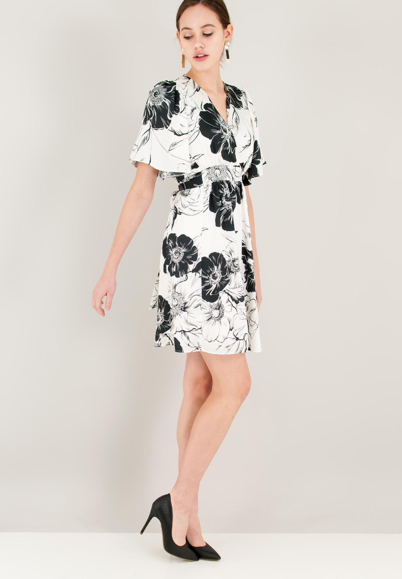 48a019e48198 Μίνι σατέν φόρεμα με φαρδύ μανίκι - ZIC ZAC