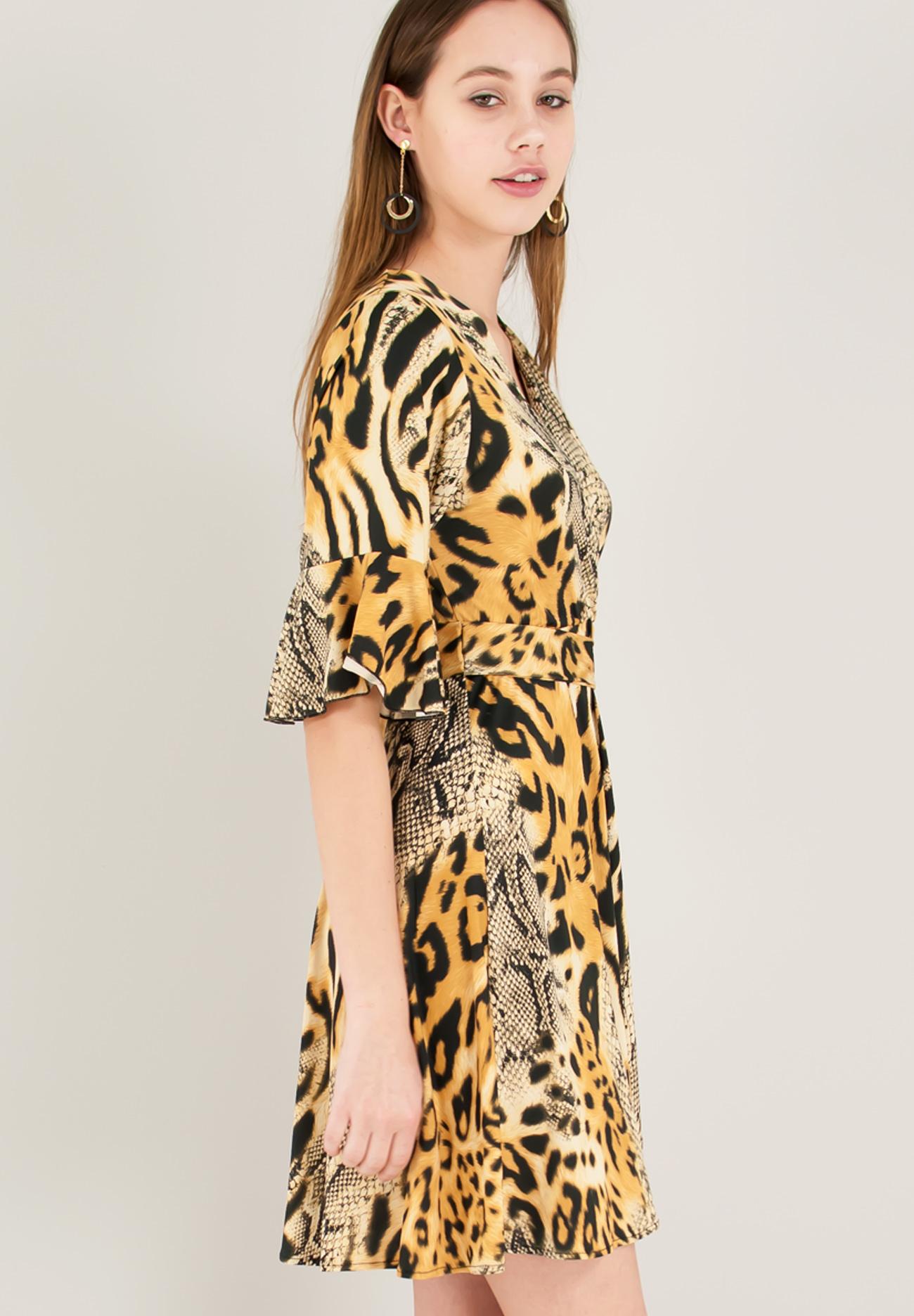 75aaa4cd9b74 Animal print κρουαζέ φόρεμα - ZIC ZAC