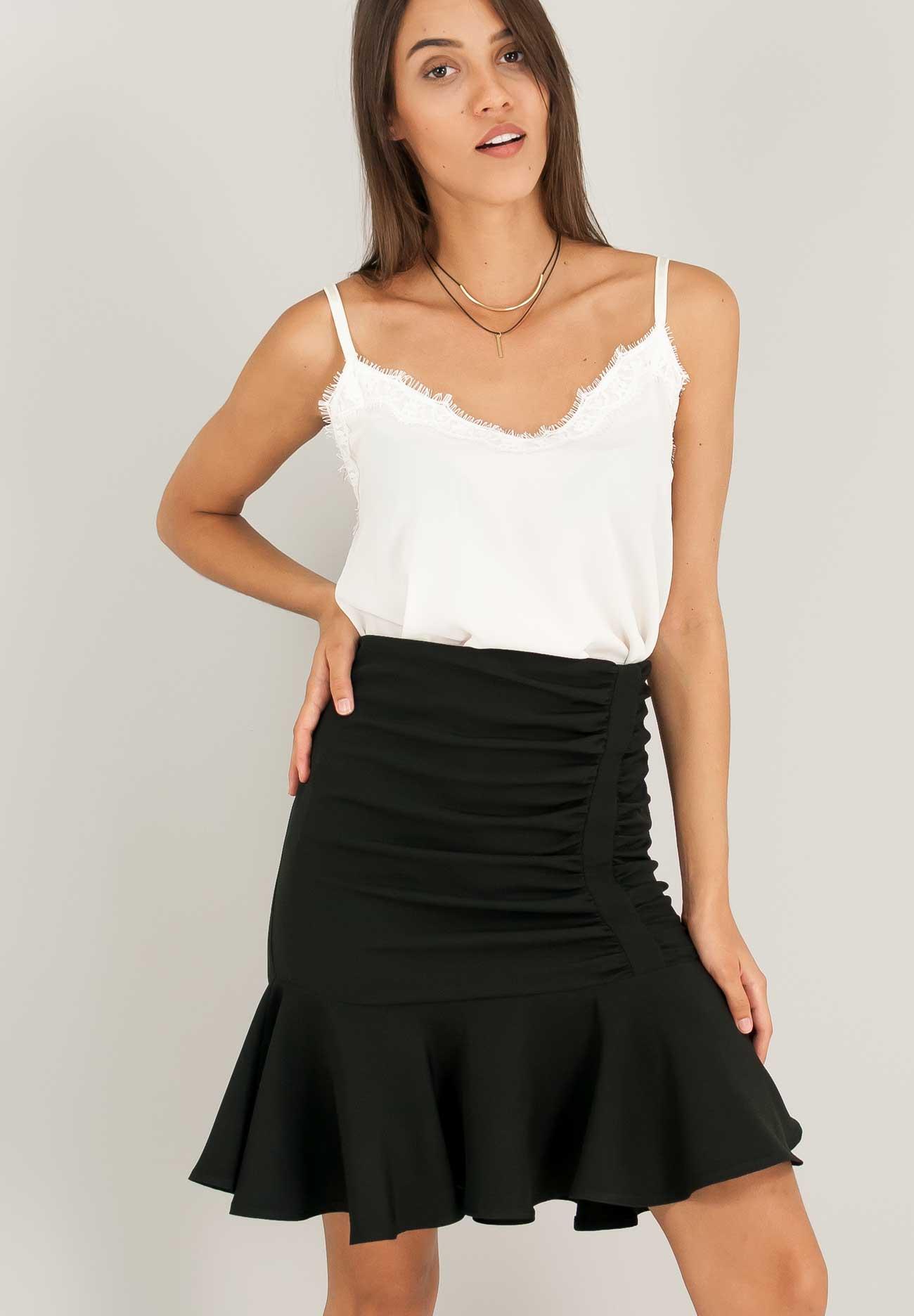 Φούστα με σούρες και βολάν στο τελείωμα - ZIC ZAC 4858e00c449