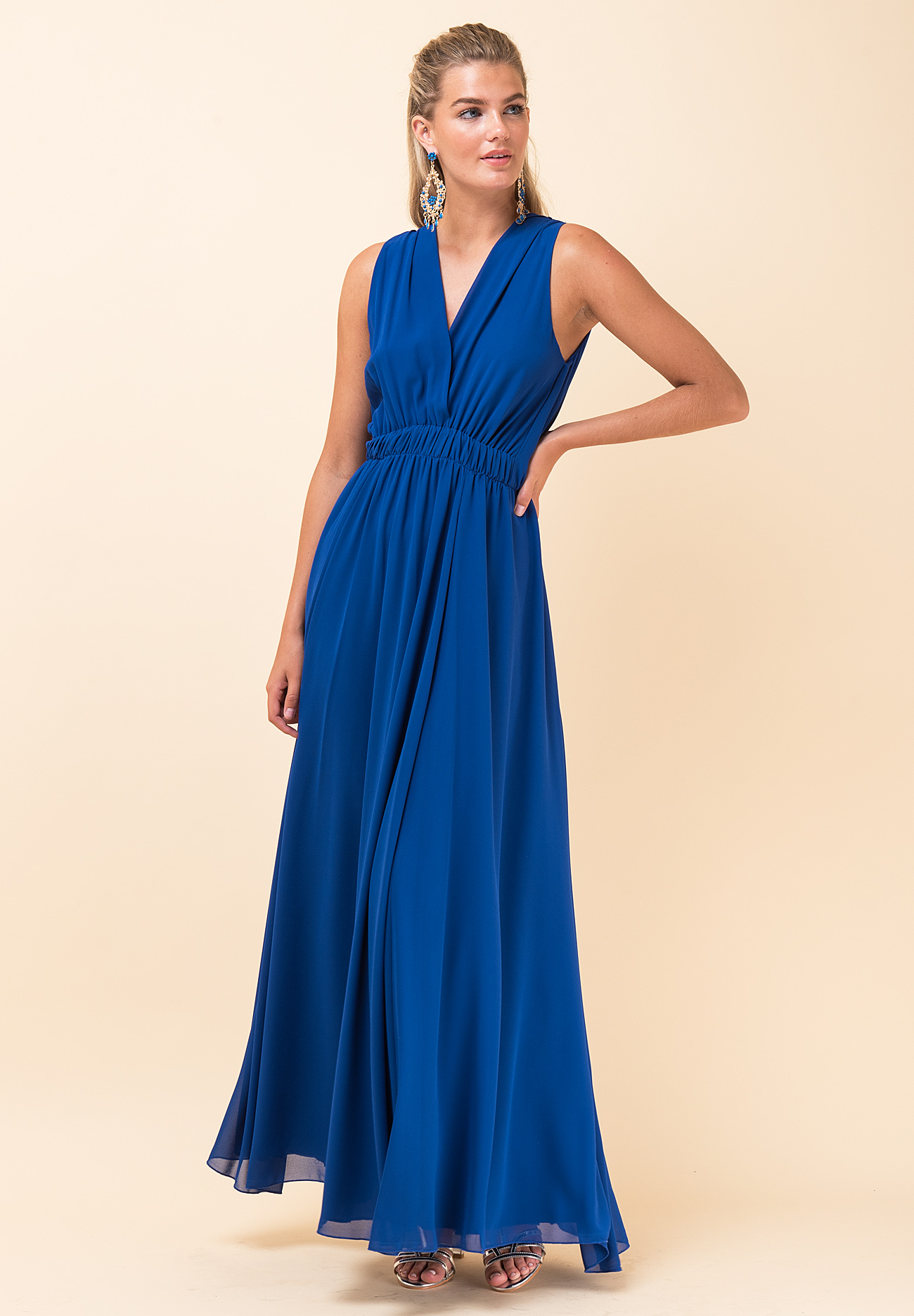 795698545018 Maxi μονόχρωμο φόρεμα με λάστιχο στη μέση