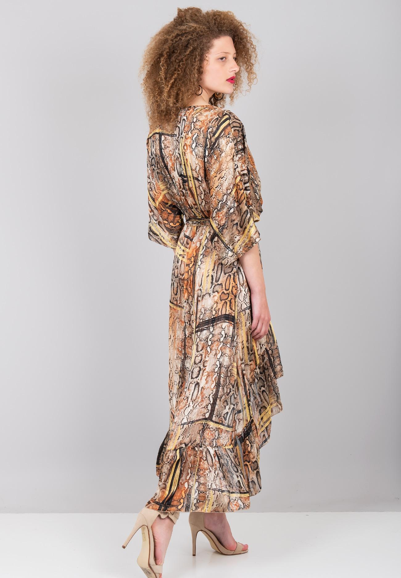 9faa1600559e Ασύμμετρο κρουαζέ φόρεμα με τύπωμα φίδι - ZIC ZAC