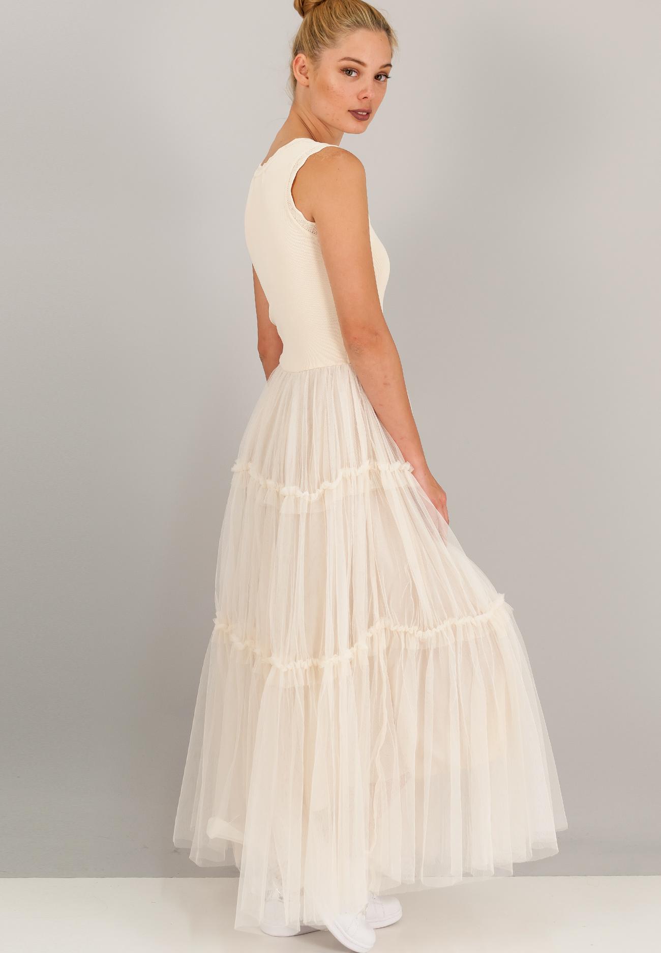 Μακρύ φόρεμα με τούλινη φούστα με βολάν - ZIC ZAC 892965aaef3