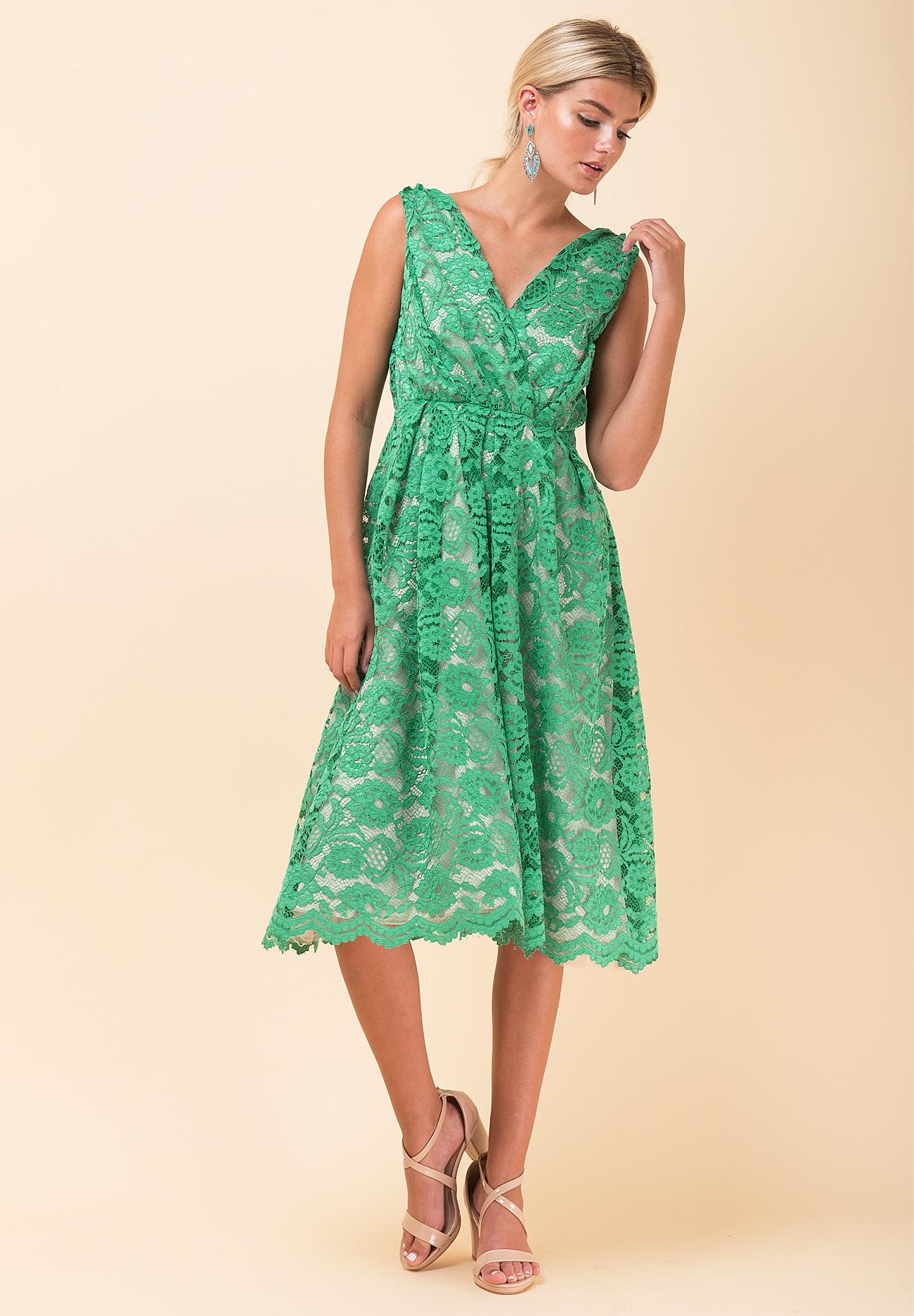 9ecb725bdeca Δαντελένιο κλος φόρεμα με φουρό - ZIC ZAC
