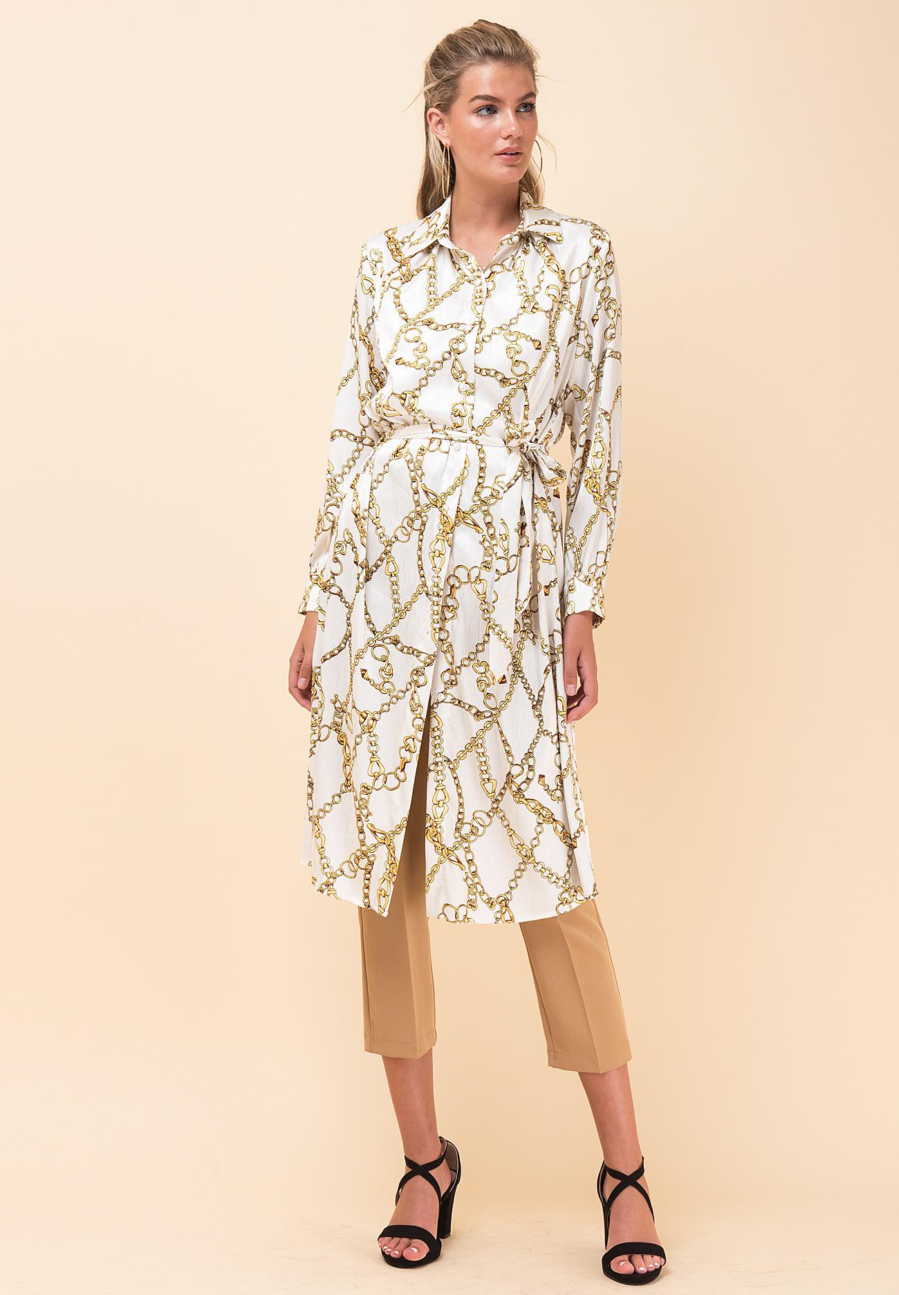 11478e341d4 Φόρεμα με τύπωμα αλυσίδες σε στιλ πουκάμισο - ZIC ZAC