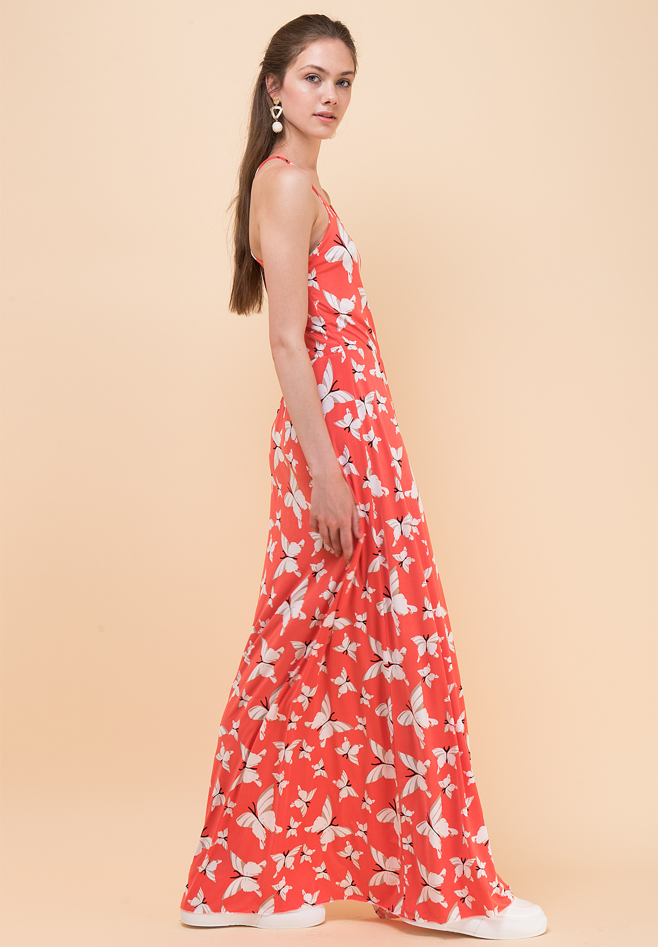 f3b08a291f7 Μακρύ εμπριμέ φόρεμα με άνοιγμα στη πλάτη - ZIC ZAC