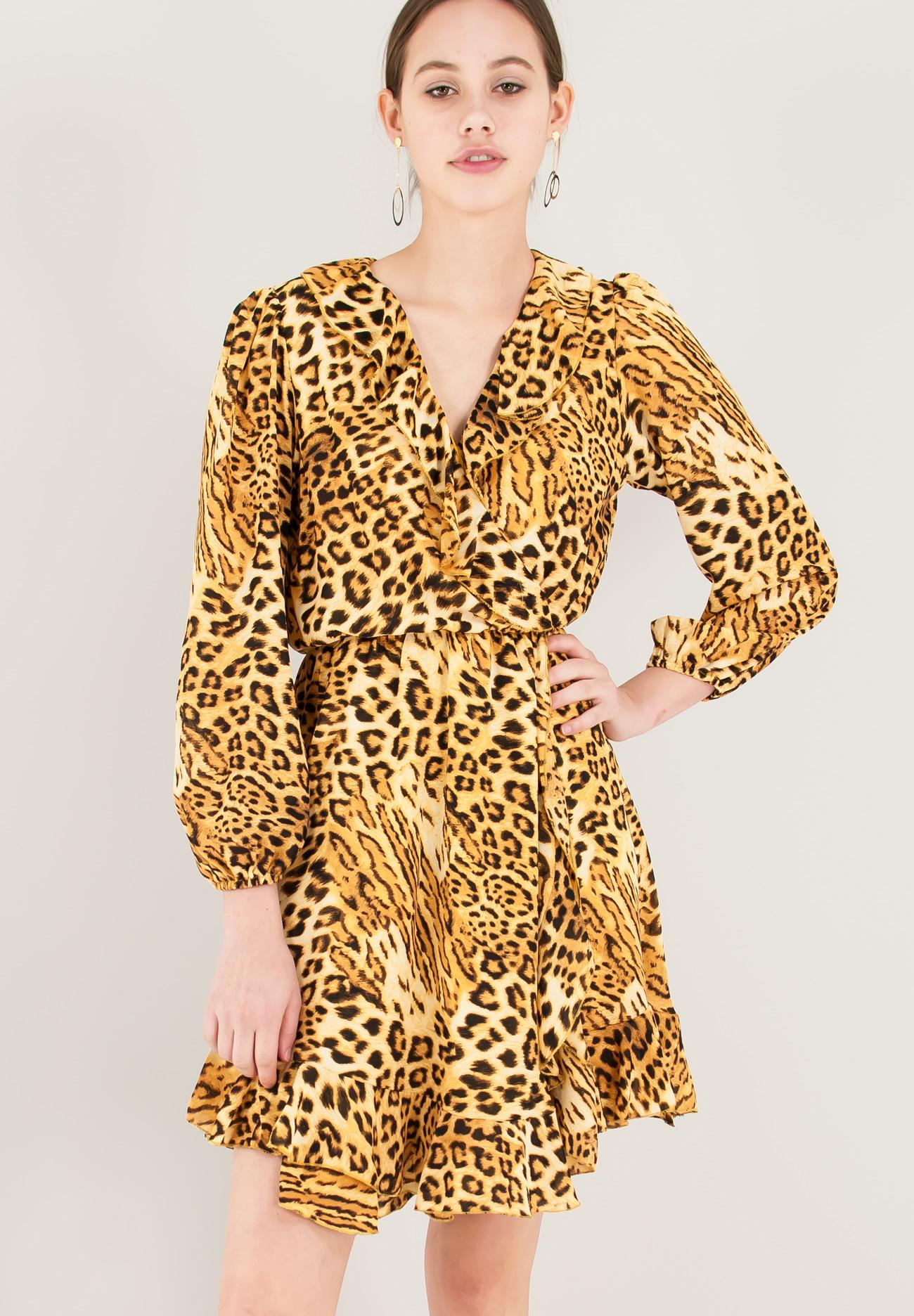 0270f5769e7a Animal print φόρεμα με λεπτομέρεια βολάν - ZIC ZAC
