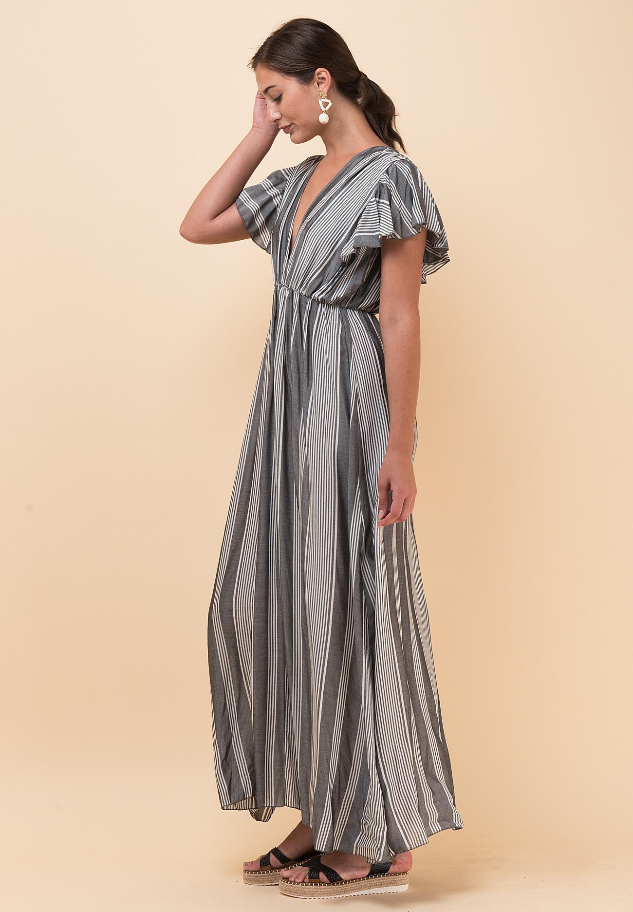 66c10c8a989 Maxi ριγέ φόρεμα με V ντεκολτέ - ZIC ZAC