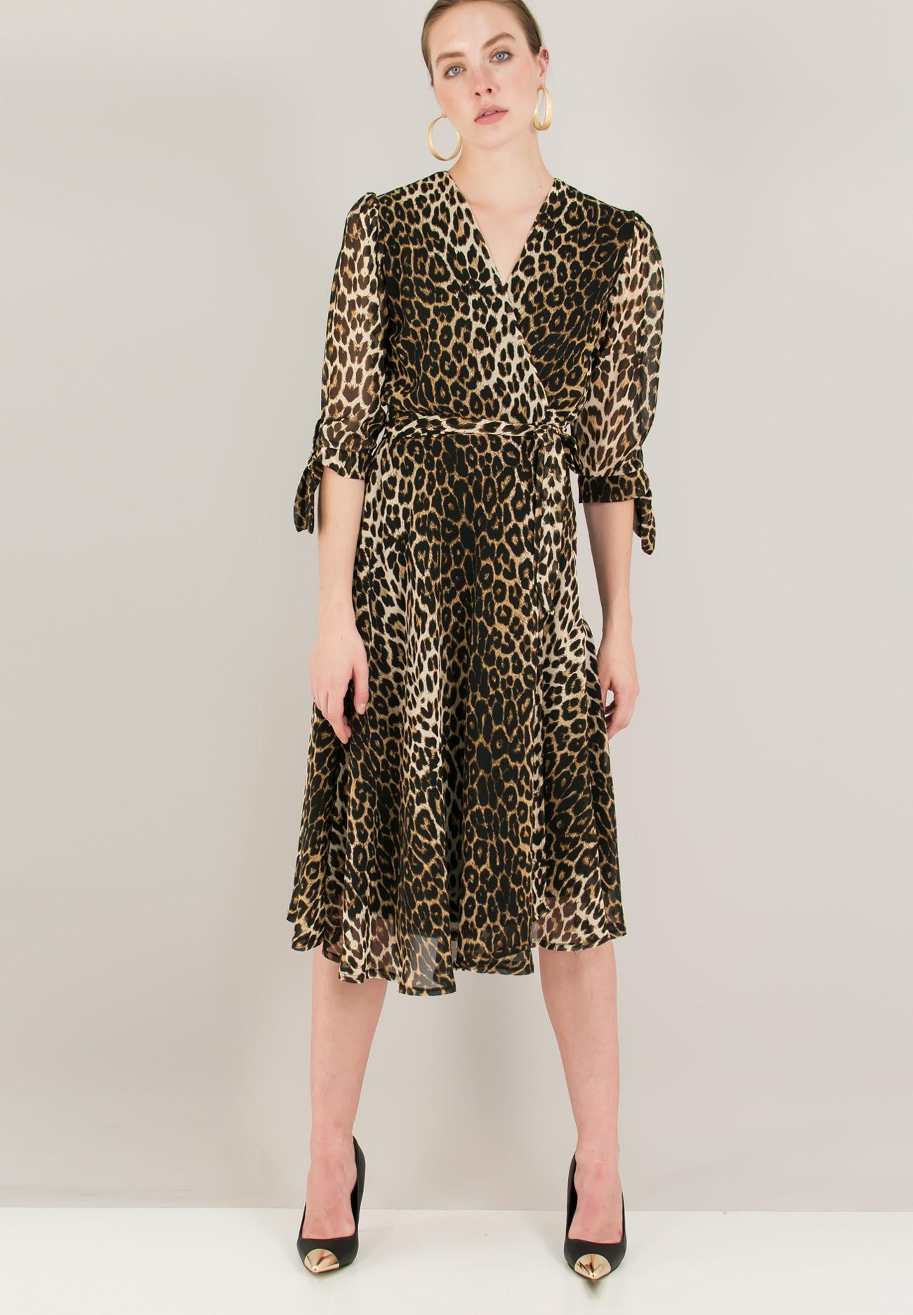 Animal print δετό κρουαζέ φόρεμα - ZIC ZAC 2697895f8ce