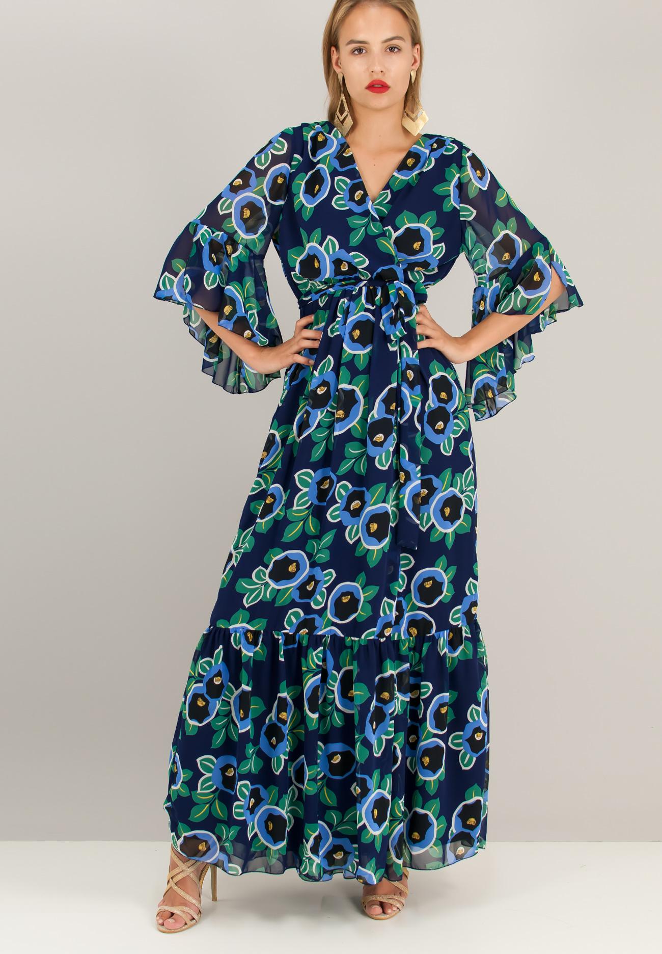 Maxi εμπριμέ δετό κρουαζέ φόρεμα - ZIC ZAC 5fd830d16a8