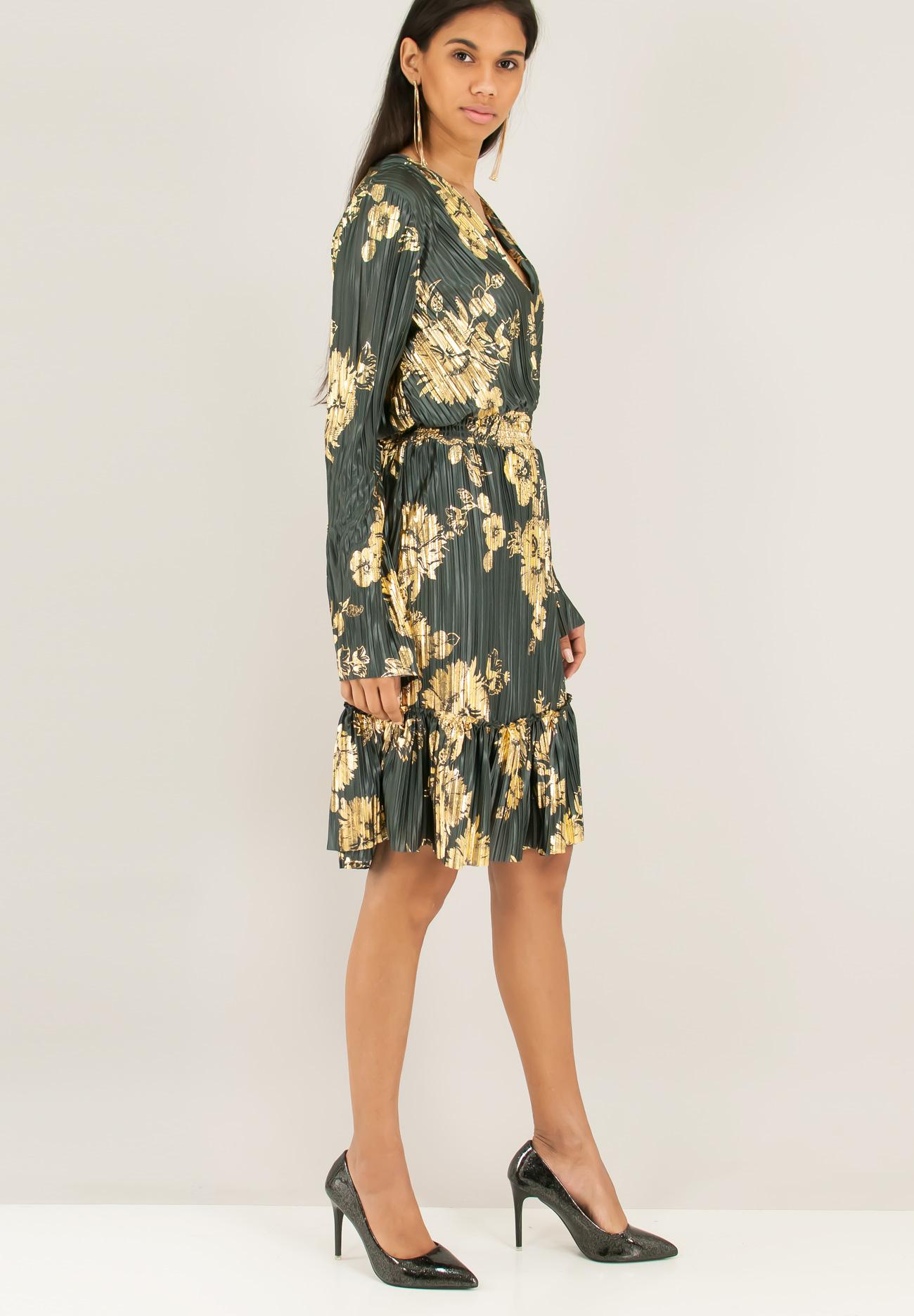 Πλισέ φόρεμα με χρυσό τύπωμα - ZIC ZAC 393ec13abec