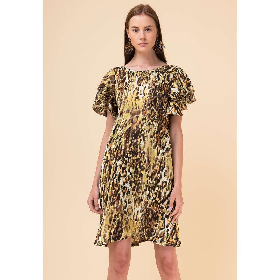 a5a61b3378d5 Εμπριμέ φόρεμα με βολάν λεπτομέρειες