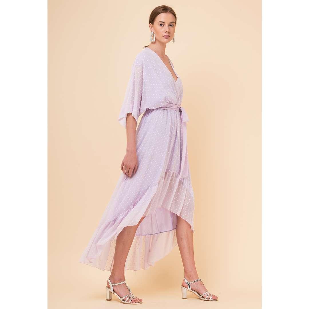 fa3362203e5 Ασύμμετρο φόρεμα από ανάγλυφο ύφασμα