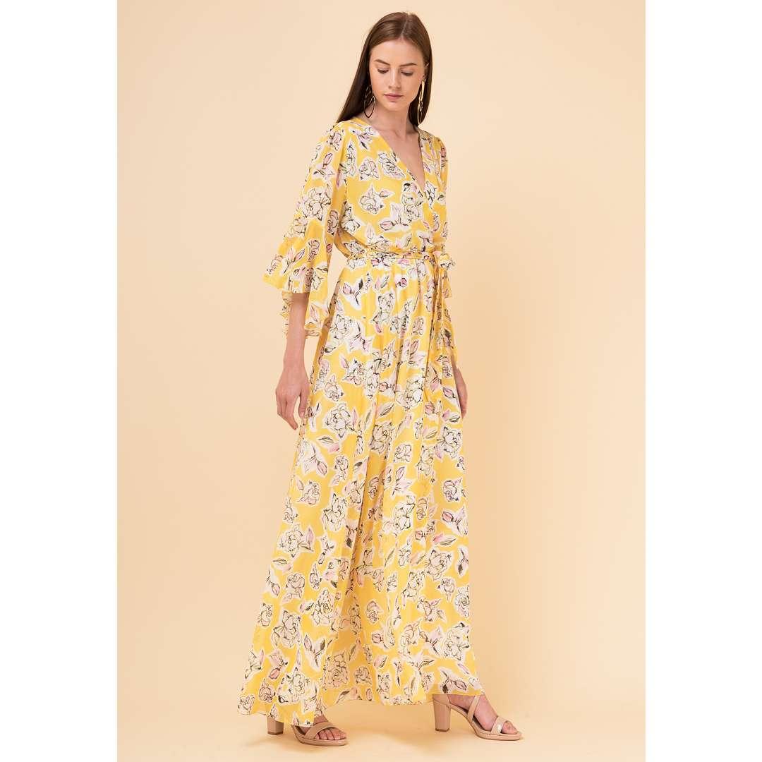 d8896a1137d Εμπριμέ δετό κρουαζέ φόρεμα
