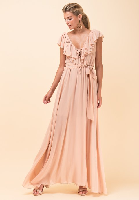 34d0700f5587 Maxi φόρεμα με βολάν στο μπούστο