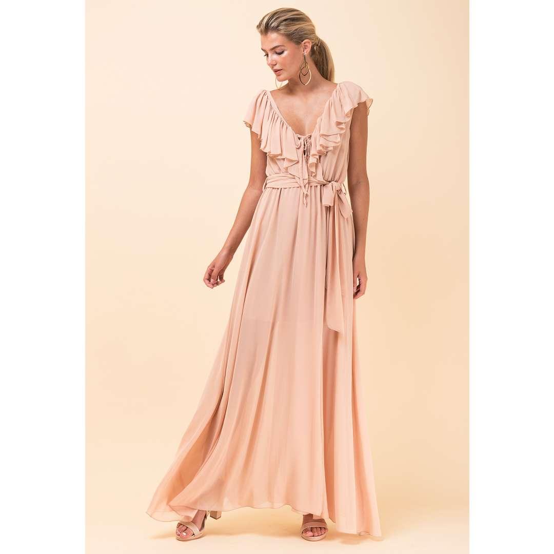 Maxi φόρεμα με βολάν στο μπούστο