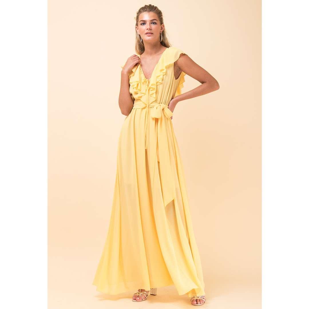 Maxi φόρεμα με λεπτομέρειες βολάν