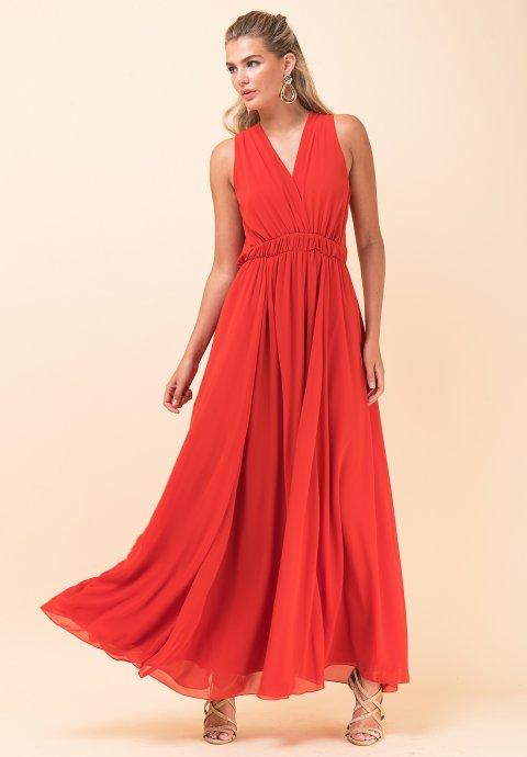 715bb2c7bc96 Μακρύ μονόχρωμο φόρεμα με λάστιχο στη μέση
