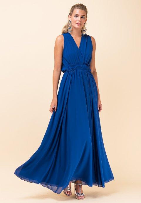 bbd3a8c6284e Maxi μονόχρωμο φόρεμα με λάστιχο στη μέση