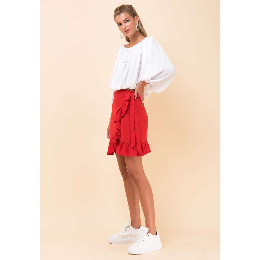 Μίνι μονόχρωμη δετή φούστα