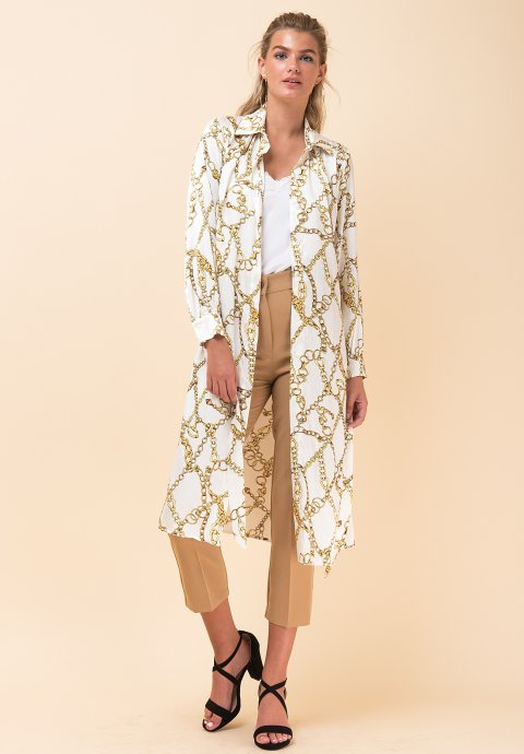 cb2b81f1843b Φόρεμα με τύπωμα αλυσίδες σε στιλ πουκάμισο