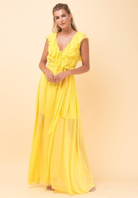 29544cc1795e Maxi φόρεμα με λεπτομέρεια βολάν