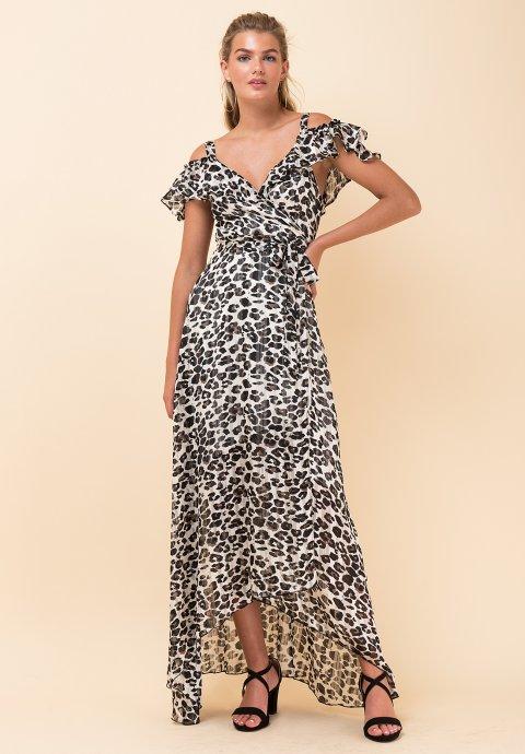 7be2bf4ee00 Ασύμμετρο δετό φόρεμα με έξω τους ώμους