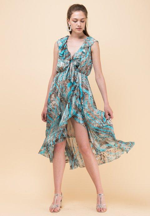 e5bd33abea8 Ασύμμετρο εμπριμέ φόρεμα βολάν