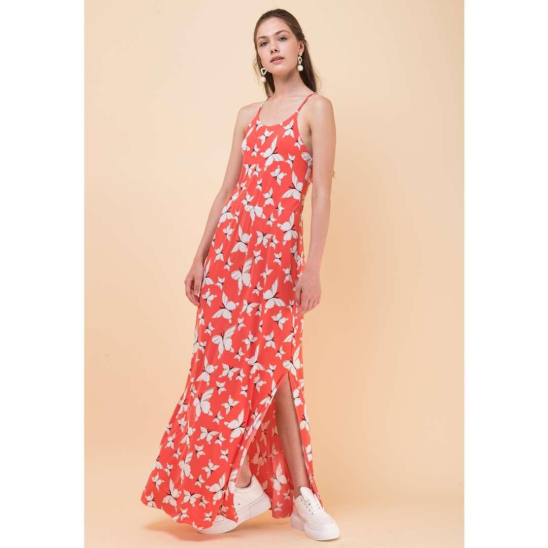 Μακρύ εμπριμέ φόρεμα με τιράντες