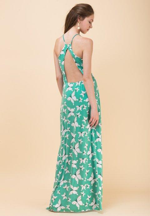 70dddf51928 Μακρύ εμπριμέ φόρεμα με ανοιχτή πλάτη