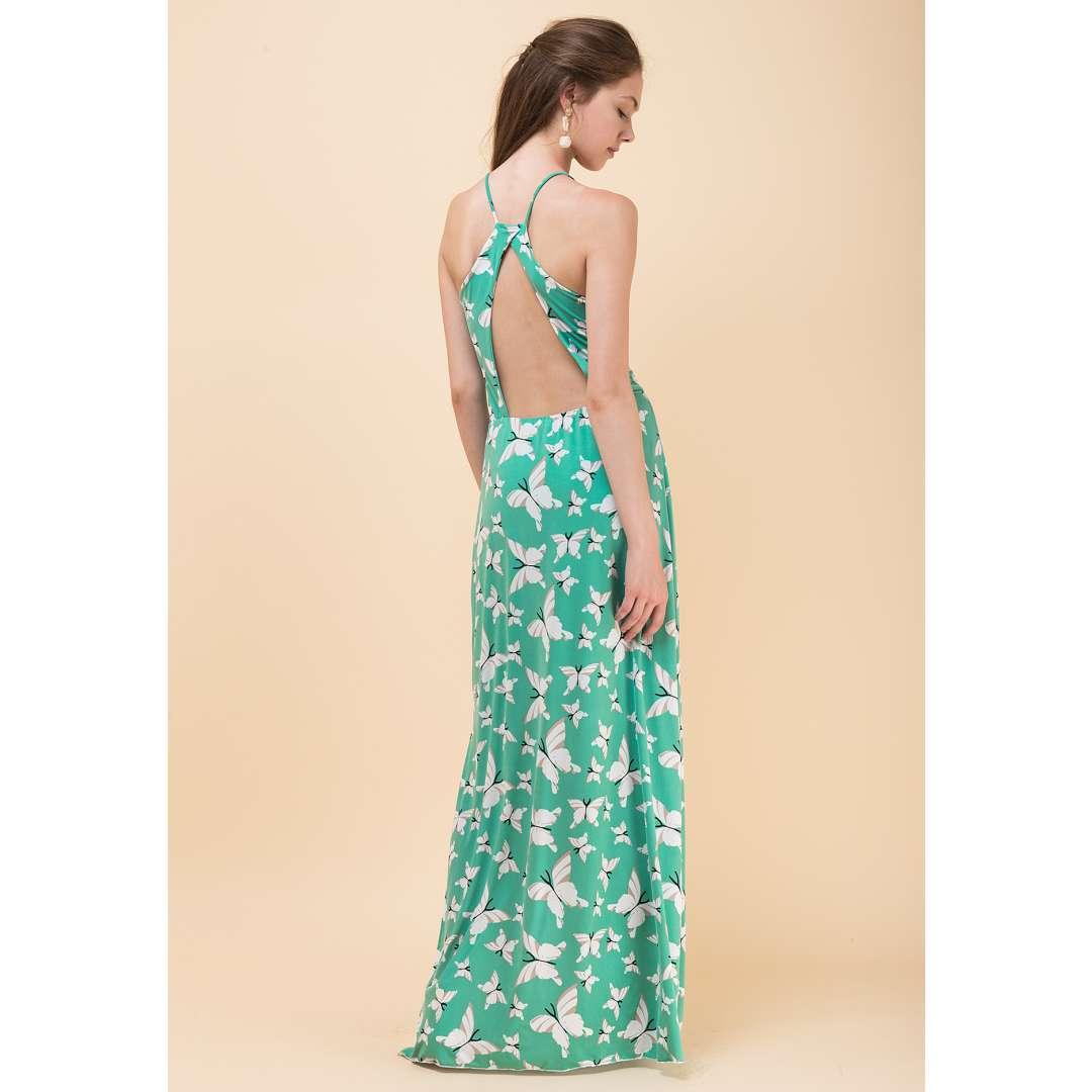 Μακρύ εμπριμέ φόρεμα με ανοιχτή πλάτη