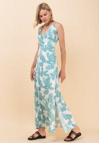 d74f7490a2e Μακρύ εμπριμέ φόρεμα με δετές τιράντες - ZIC ZAC