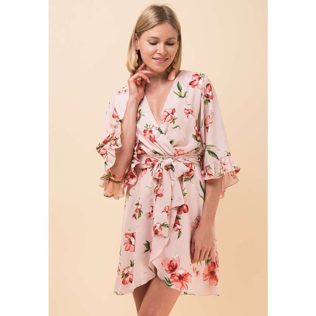 Φλοράλ μίνι κρουαζέ φόρεμα