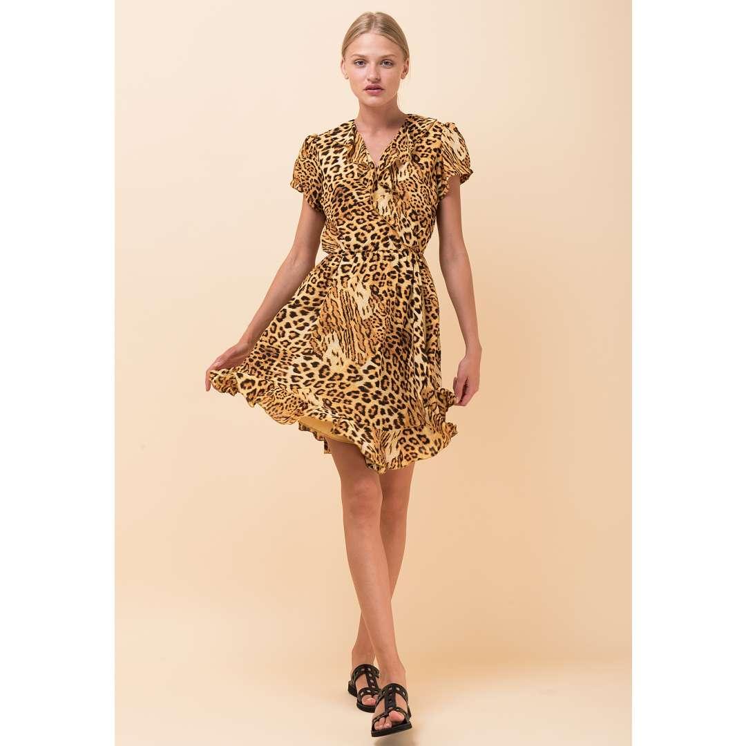 Animal print φόρεμα με λεπτομέρεια βολάν