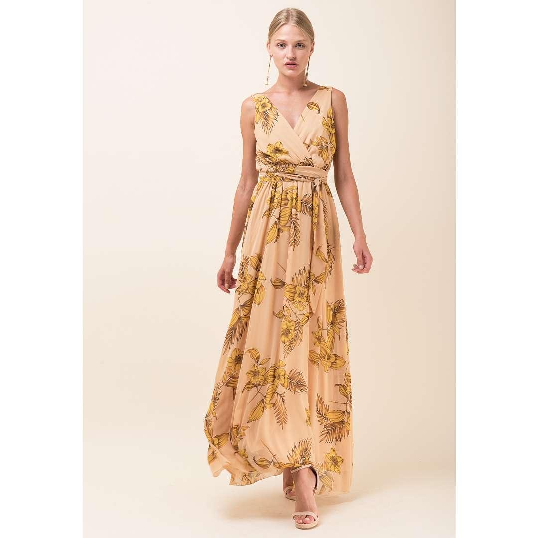 Maxi εμπριμέ φόρεμα με κρουαζέ μπούστο