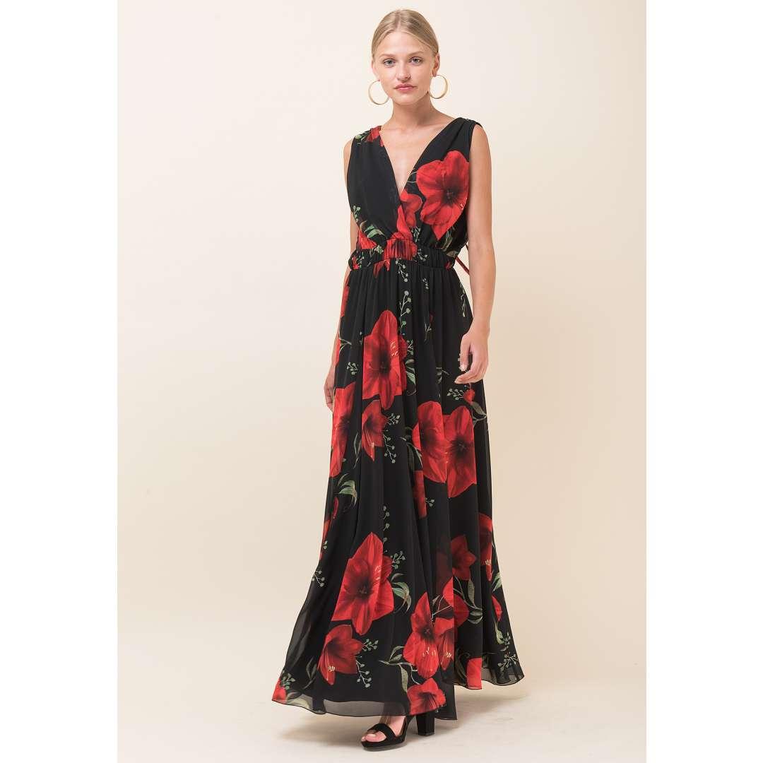 Μακρύ εμπριμέ φόρεμα με κρουαζέ μπούστο