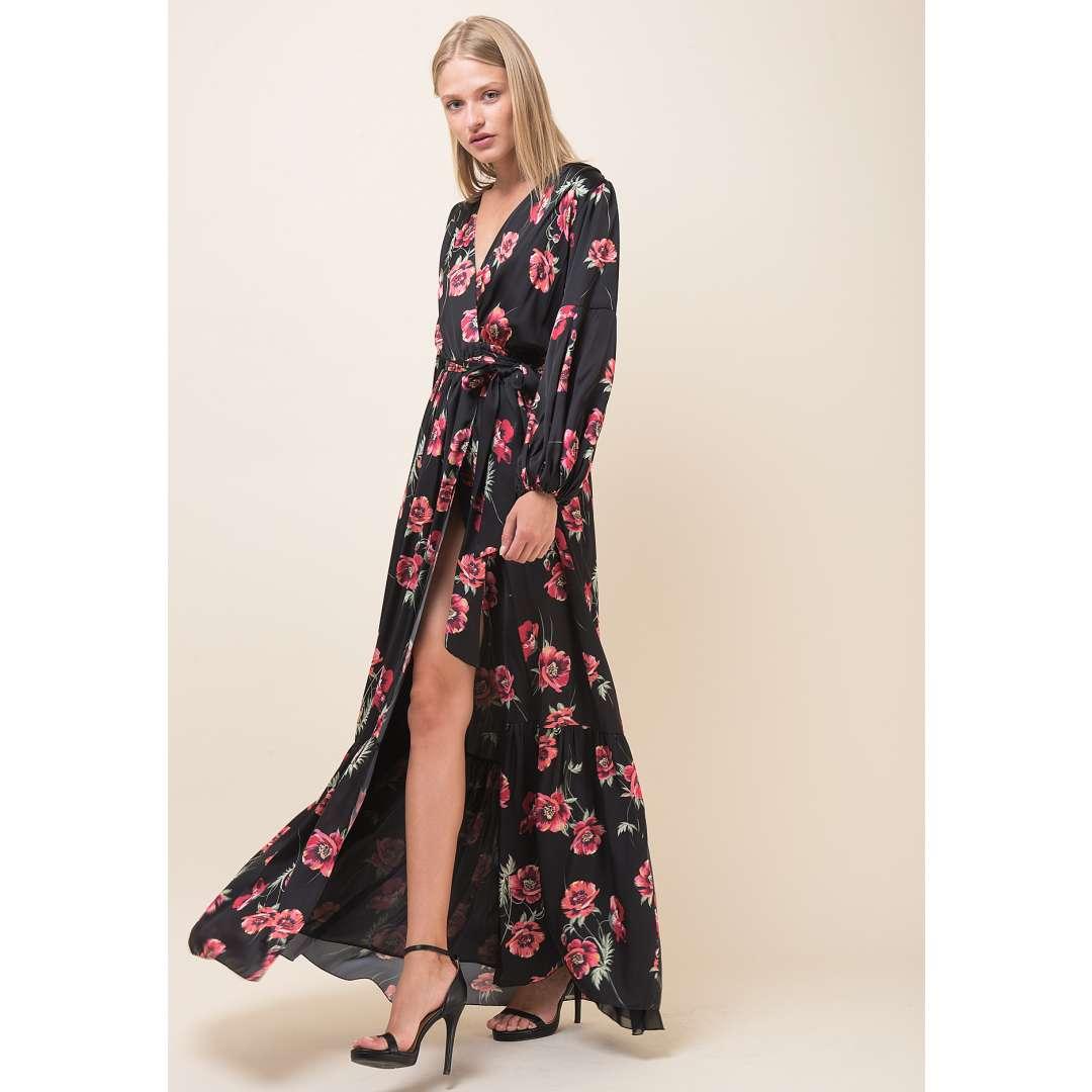 Maxi φλοράλ δετό κρουαζέ φόρεμα