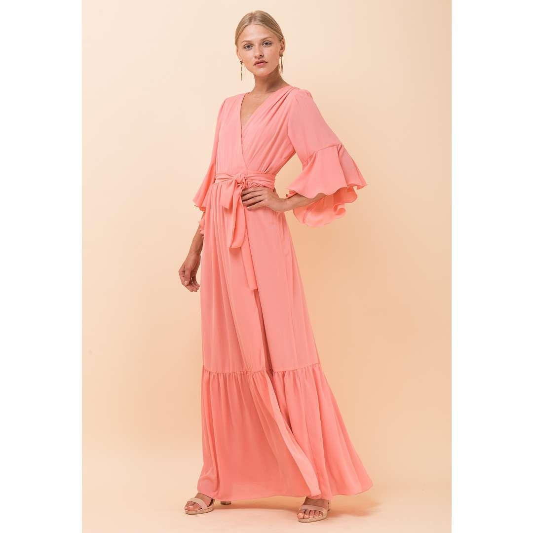 Μακρύ δετό φόρεμα με δέσιμο