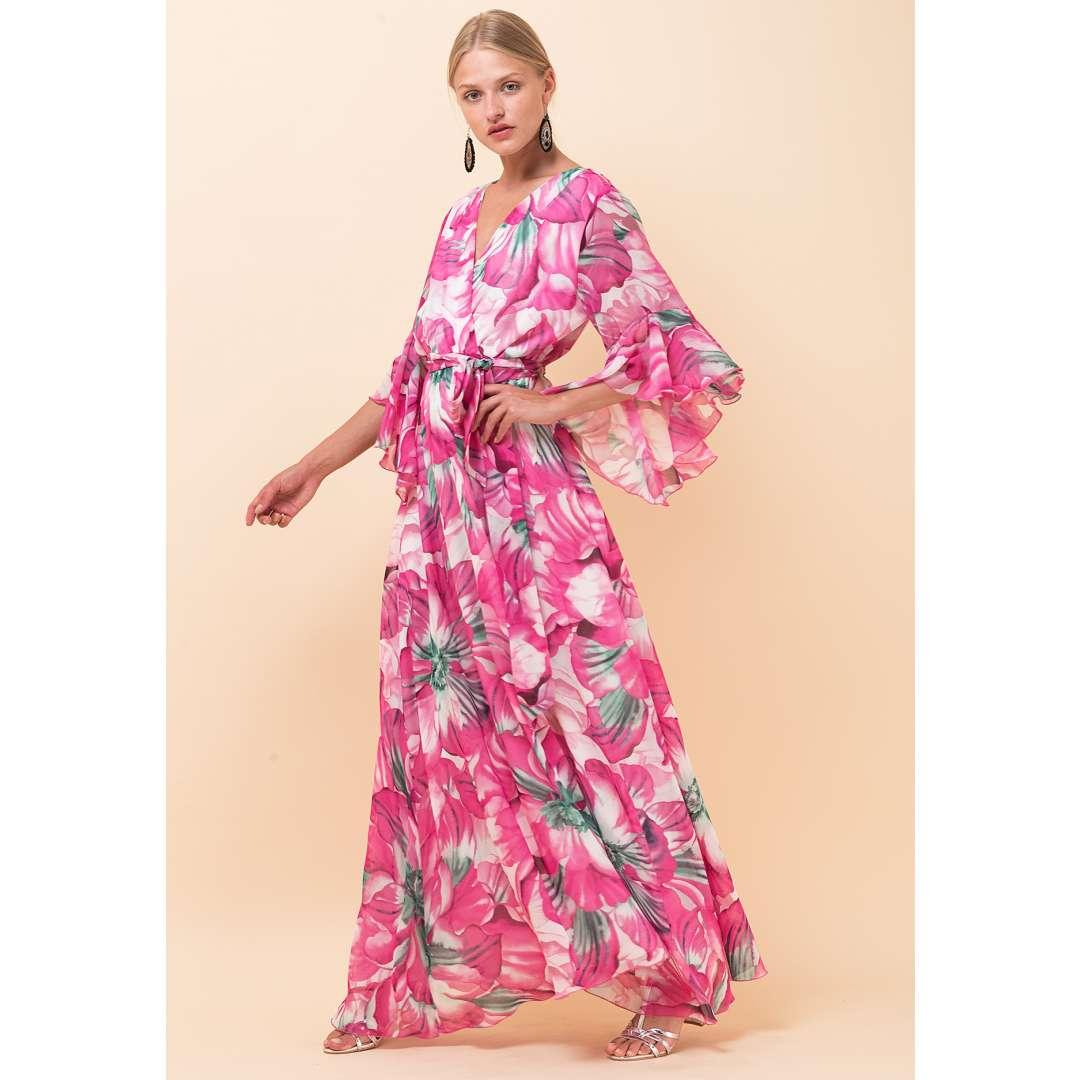 Φλοράλ δετό κρουαζέ φόρεμα