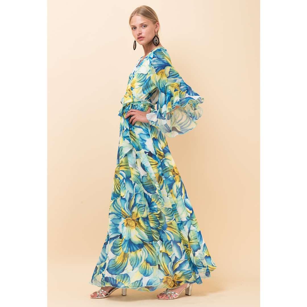 Maxi φλοράλ δετό φόρεμα