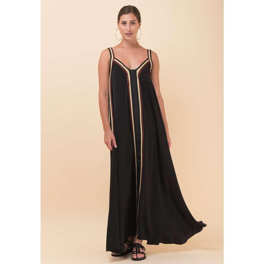 Σατέν φόρεμα με ρίγα σε αντίθεση
