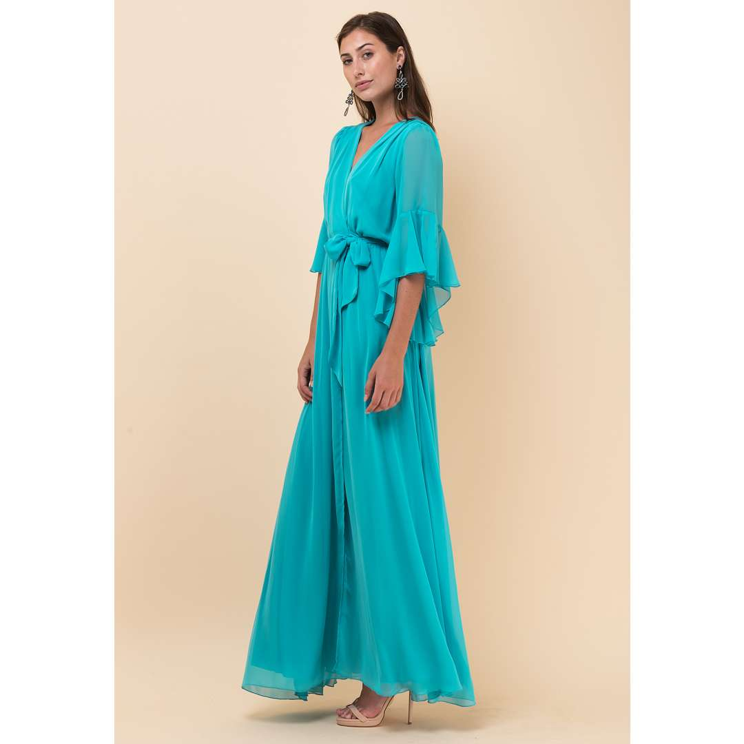 Maxi κρουαζέ φόρεμα με βολάν στο μανίκι