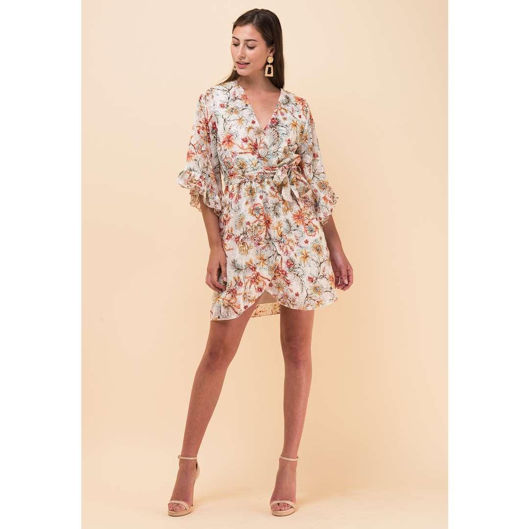Μίνι φλοράλ κρουαζέ φόρεμα